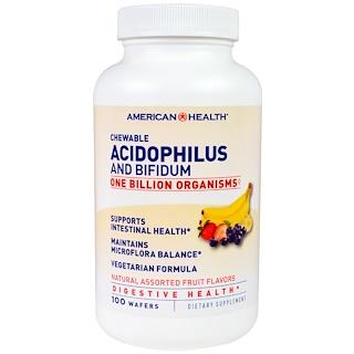 American Health, Acilophilus masticable y bifidium, sabores naturales de frutas variadas, 100 obleas