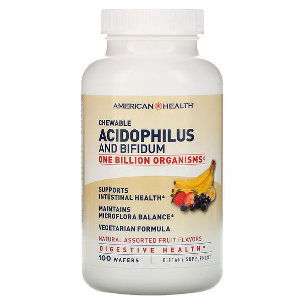 American Health, Chewable Acidophilus And Bifidum, Natural Assorted Fruit Flavors, 100 Wafers (Discontinued Item)