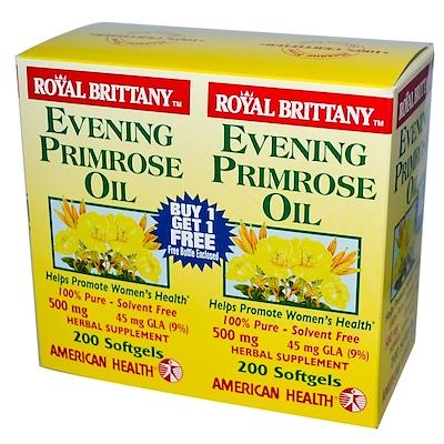цена на Масло вечерней примулы Royal Brittany, 500 мг, 2 бутылочки по 200 мягких капсул
