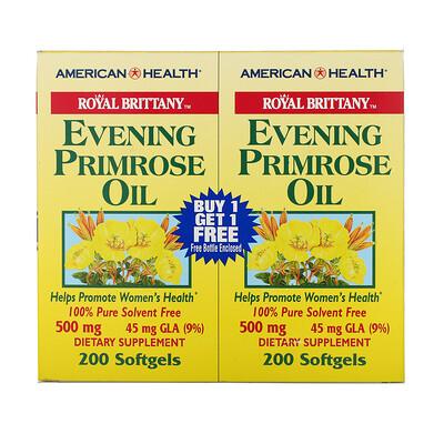 Купить American Health Масло вечерней примулы Royal Brittany, 500 мг, 2 бутылочки по 200 мягких капсул