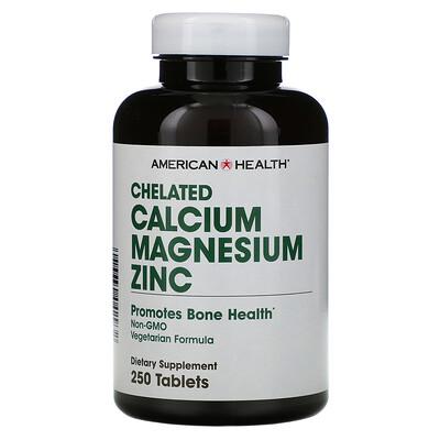 Купить American Health хелаты кальция, магния, цинка, 250таблеток