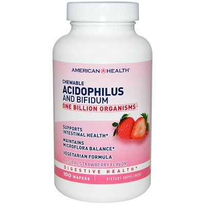 Chewable Acidophilus And Bifidum, Natural Strawberry Flavor, 100 Wafers
