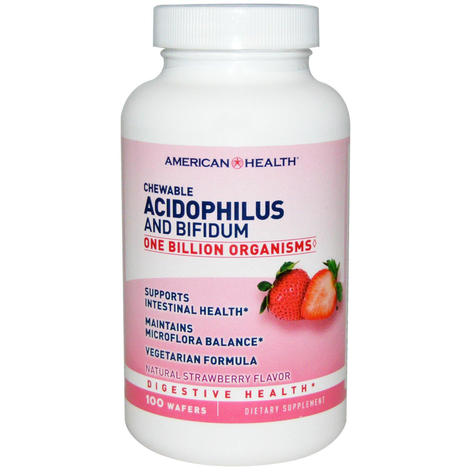American Health, Chewable Acidophilus and Bifidum, Natural