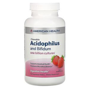 Американ Хелс, Chewable Acidophilus And Bifidum, Natural Strawberry Flavor, 100 Wafers отзывы