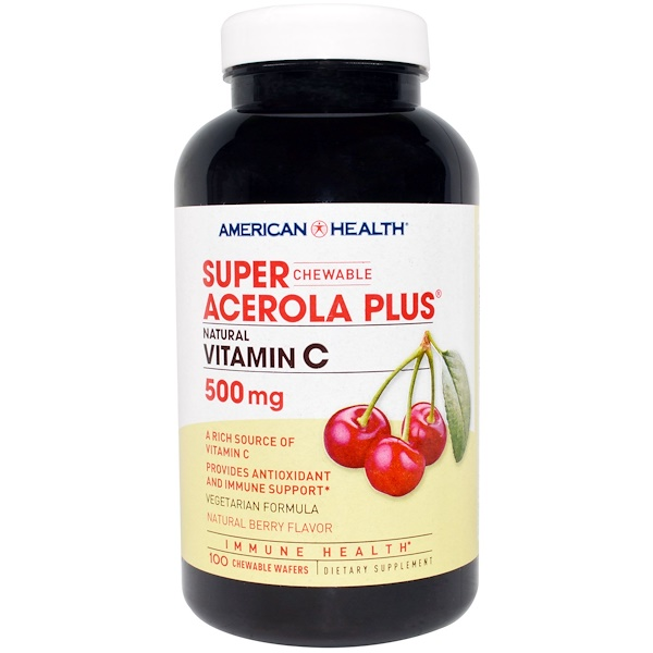 American Health, Super Acerola Plus, Natural Berry Flavor, 500 mg, 100 Chewable Wafers (Discontinued Item)