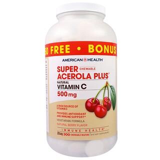 American Health, Super Acerola Plus, Natürlicher Beerengeschmack, 500 mg, 300 Waffeln