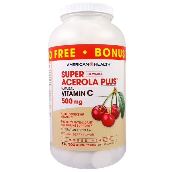 American Health, Super Acerola Plus masticable, sabor natural a bayas, 500 mg, 300 pastillas masticables