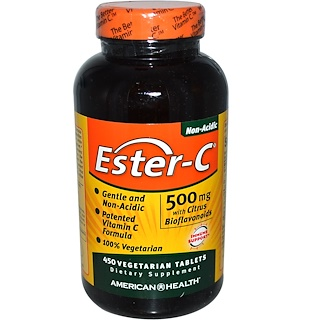 American Health, 에스테르-C, 시트러스 바이오플라보노이드 함유, 500 mg, 450 식물성 정