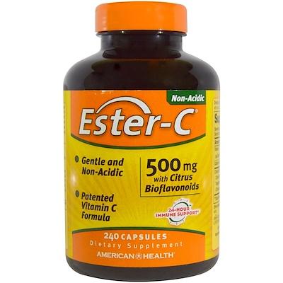 Купить American Health Ester-C, 500 мг, с цитрусовыми биофлавоноидами, 240 капсул