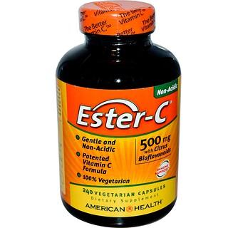 American Health, Ester-C with Citrus Bioflavonoids, 500 mg, 240 Veggie Caps