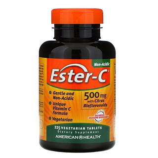 American Health, Ester-C с цитрусовыми биофлавоноидами, 500мг, 225вегетарианских таблеток