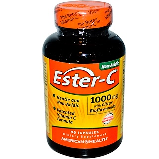 American Health, 에스테르-C, 시트러스 바이오플라보노이드 함유, 1000 mg, 90 캡슐