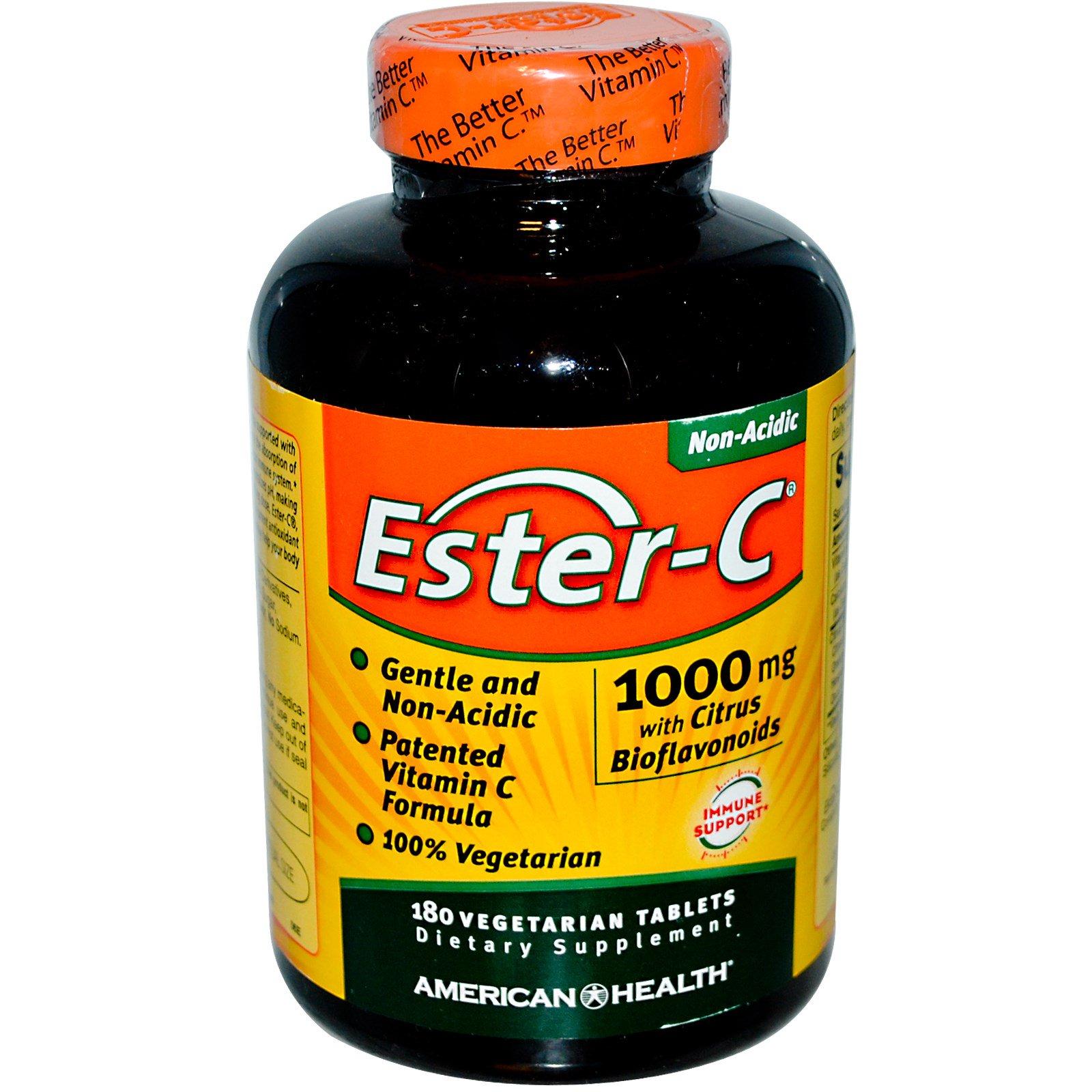 American Health, Эстер-C, 1000 мг с биофлавоноидами цитрусовых, 180 таблеток на растительной основе