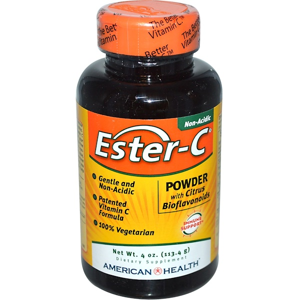 American Health, Ester-C, Powder with Citrus Bioflavonoids, 4 oz (113.4 g)