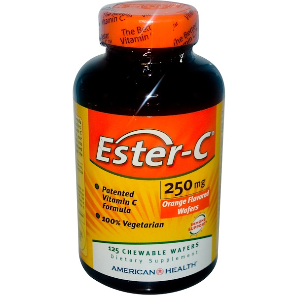 American Health, Ester-C, Orange Flavor, 250 mg, 125 Chewable Wafers