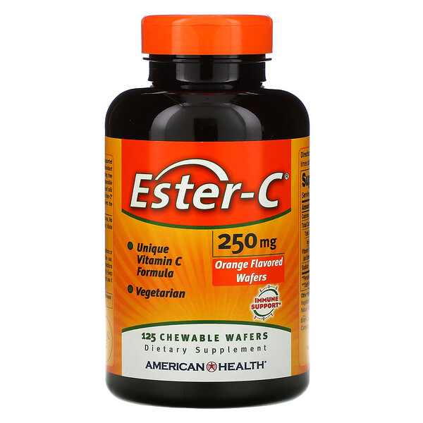 American Health, Ester-C, Orange , 250 mg, 125 Chewable Wafers