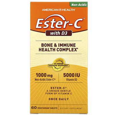Купить American Health Ester-C с витамином D3, комплекс для здоровья костей и иммунной системы, 1000мг/5000МЕ, 60вегетарианских таблеток
