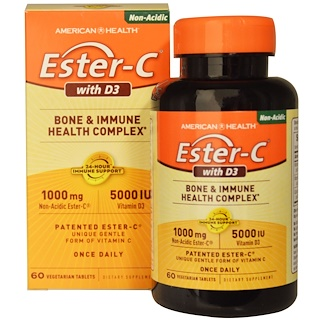 American Health, 酯化C和維生素D3,骨骼和抵抗健康復合配方,1000毫克/5000國際單位,60粒素食膠囊