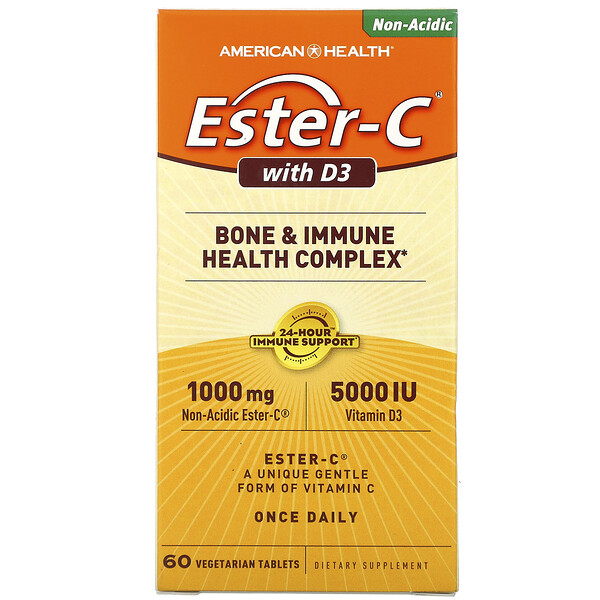 American Health, Ester-C with D3,  Bone and Immune Health Complex, 1,000 mg/5,000 IU, 60 Vegetarian Tablets