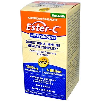 Витаминный комплекс Эстер-C с пробиотиками для улучшения пищеварения и иммунного здоровья, 60 растительных таблеток
