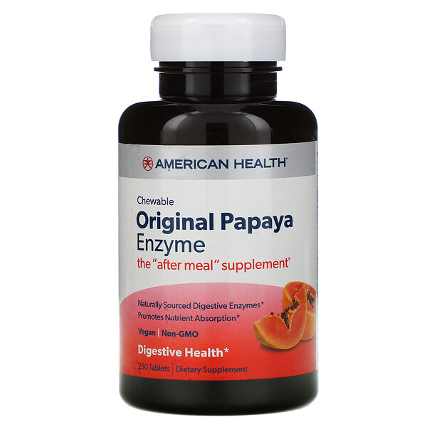American Health, Chewable Original Papaya Enzyme, 250 Chewable Tablets