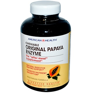 American Health, Original Papaya Enzyme, 600 Chewable Tablets