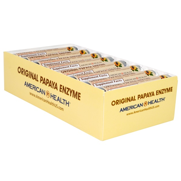 American Health, Original Papaya Enzyme, Chewable Tablets, 16 Rolls, 12 Tablets Per Roll (Discontinued Item)