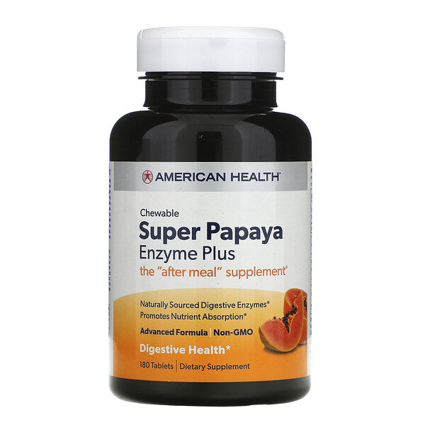 American Health, Super Papaya Enzyme Plus, 180 Chewable Tablets