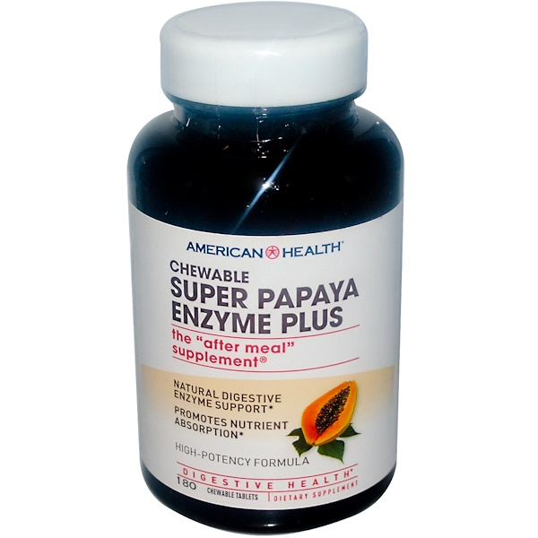 Super Papaya Enzyme Plus, 180 Chewable Tablets