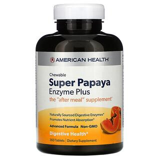 American Health, Chewable Super Papaya Enzyme Plus, 360 Tablets