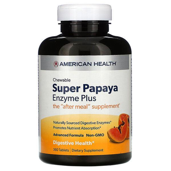 American Health, Super Papaya Enzyme Plus, 360 Chewable Tablets