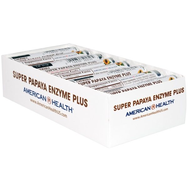 American Health, Super Papaya Enzyme Plus Chewable Tablets, 16 Rolls, 12 Tablets Each (Discontinued Item)