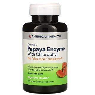 American Health, Enzima de Mamão com Clorofila, 250 Comprimidos Mastigáveis
