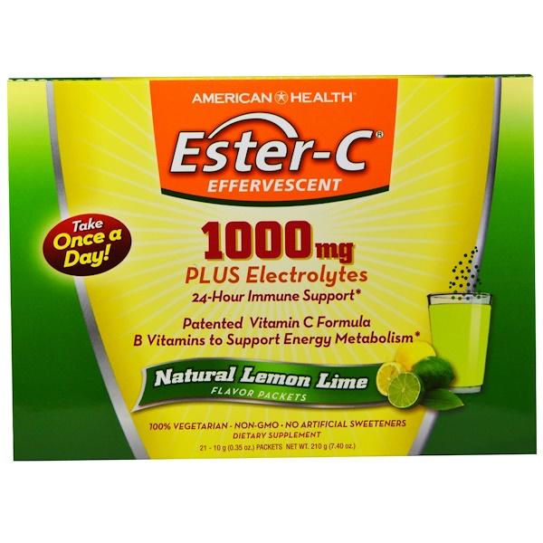 American Health, Ester-C Effervescent, Natural Lemon Lime Flavor, 1000 mg, 21 Packets, 0.35 oz (10 g) Each (Discontinued Item)