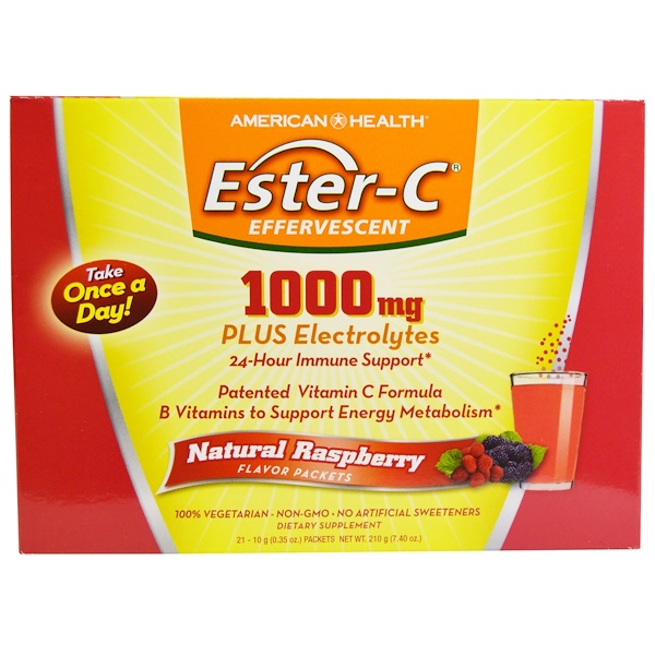 American Health, Ester-C Effervescent, Natural Raspberry Flavor, 1000 mg, 21 Packets, 0.35 oz (10 g) Each (Discontinued Item)