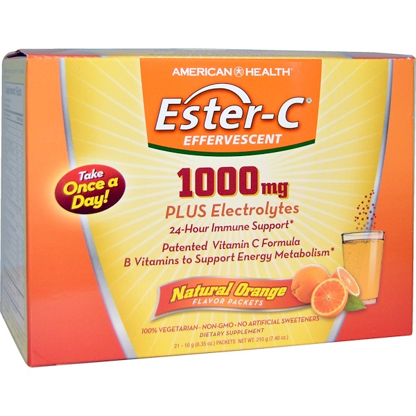 American Health, Ester-C Effervescent, Natural Orange Flavor, 1,000 mg, 21 Packets, 0.35 oz (10 g) Each
