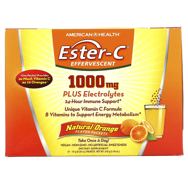 Ester-C Effervescent, Natural Orange Flavor, 1,000 mg, 21 Packets, 0.35 oz (10 g) Each