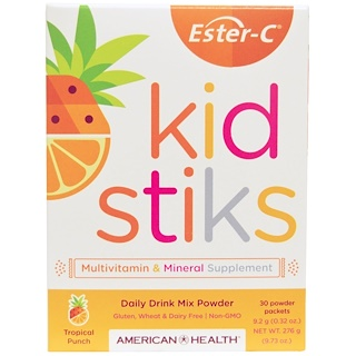 American Health, Ester-C Kidstiks, Daily Drink Mix Powder, Tropical Punch Flavor, 30 Powder Packets, 9.2 g (0.32 oz) Each