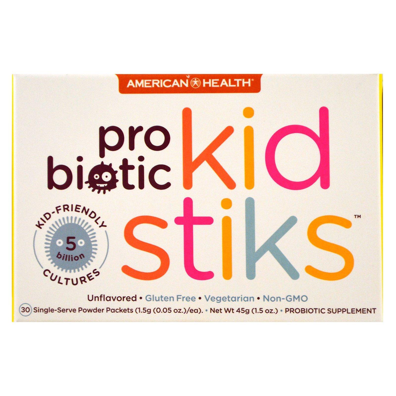 American Health, Пробиотик Kidstiks, не содержит ароматизаторов, 30 пакетов, 1,5 г (0,05 унции) каждый