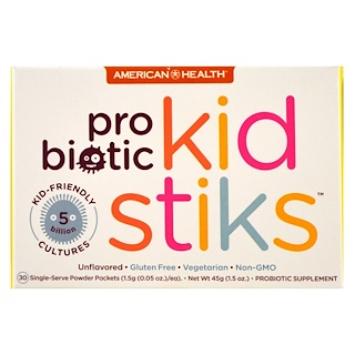 American Health, Probiotic Kidstiks, Unflavored, 30 Packets, 1.5 g (0.05 oz) Each