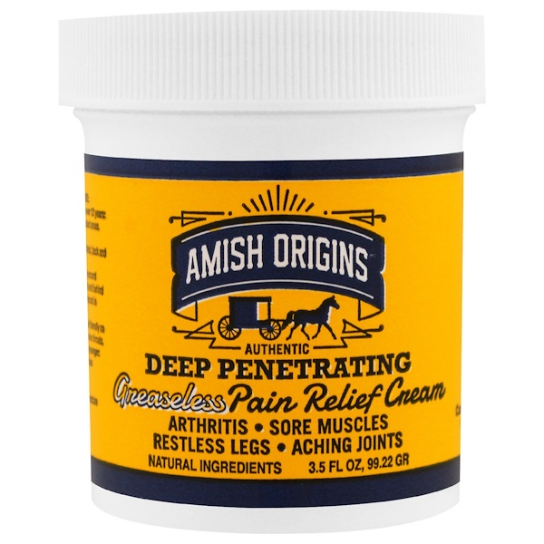 Amish Origins, Deep Penetrating, Greaseless Pain Relief Cream, 3.5 fl oz (99.22 g)
