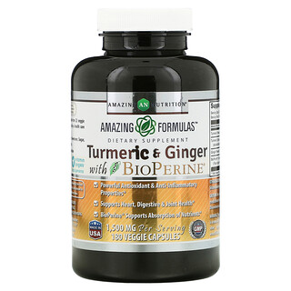 Amazing Nutrition, Turmeric & Ginger with BioPerine, 750 mg, 180 Veggie Capsules