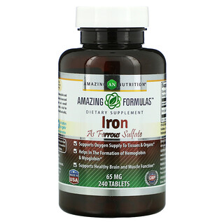 Amazing Nutrition, Iron As Ferrous Sulfate, 65 mg, 240 Tablets