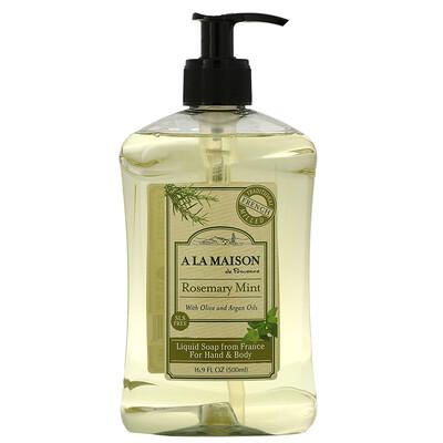 Купить A La Maison de Provence Жидкое мыло для рук и тела, розмарин и мята, 500 мл (16, 9 жидкой унции)