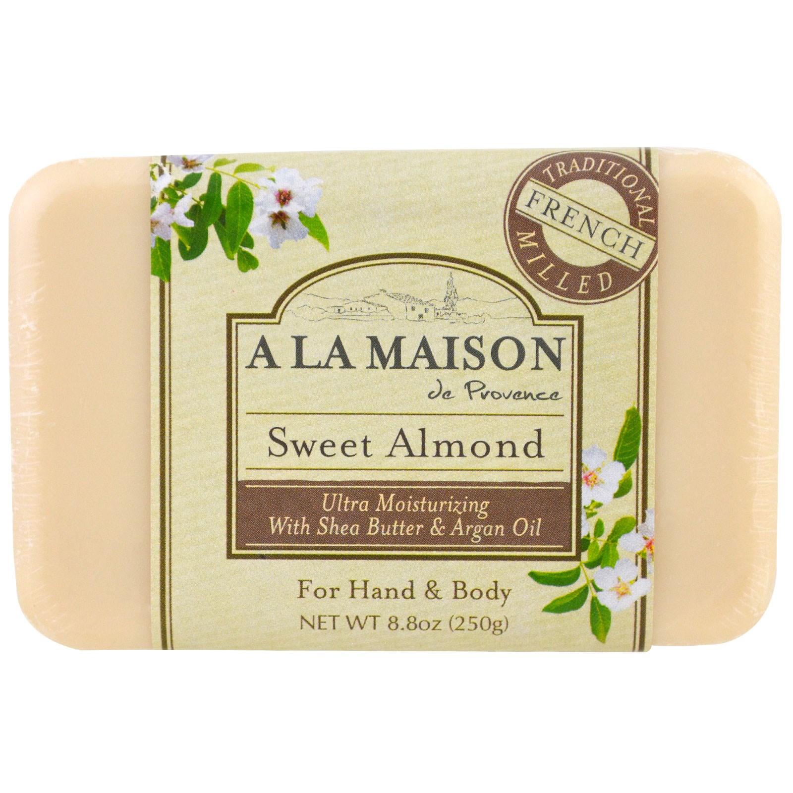 A La Maison de Provence, Мыло для рук и тела (твердое), сладкий миндаль, 8,8 унций (250 гр)