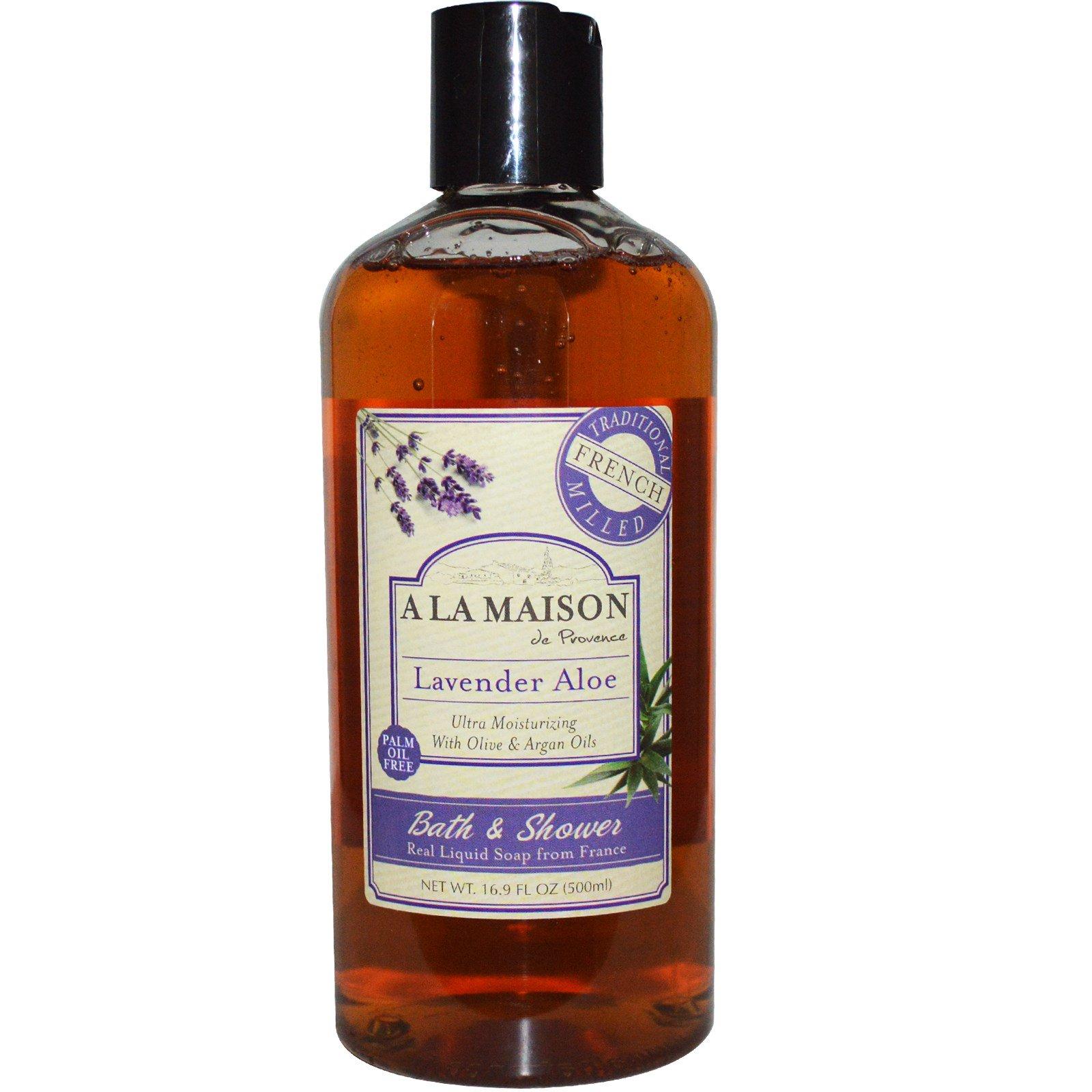A La Maison de Provence, Жидкое мыло для ванны и душа, лаванда и алоэ, 500 мл (16,9 жидких унций)
