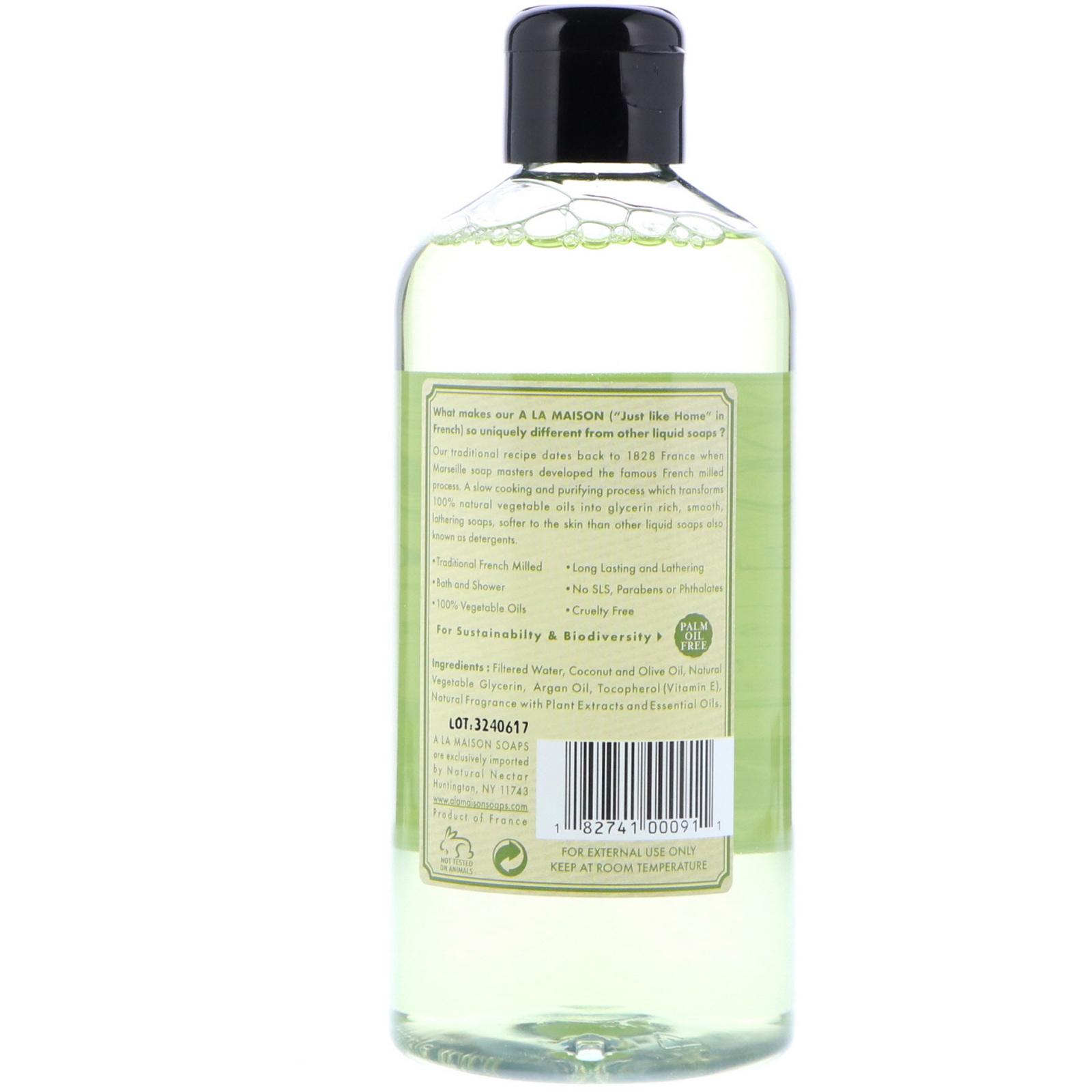 A La Maison de Provence, Bath & Shower Liquid Soap, Rosemary Mint, 16 9 fl  oz (500 ml)