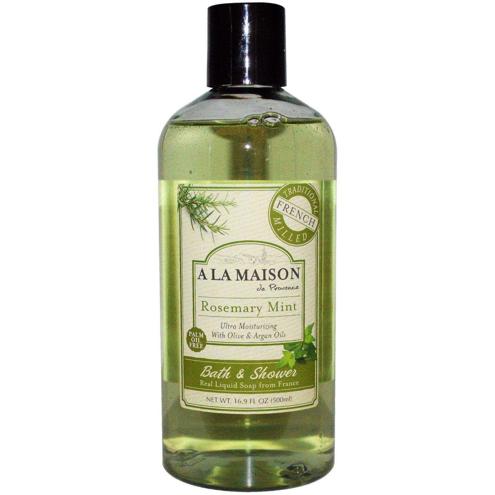 A La Maison de Provence, Жидкое мыло для ванны и душа, розмарин и мята, 500 мл (16,9 жидких унций)