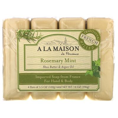 A La Maison de Provence Мыло для рук и тела, с ароматом розмарина и мяты, 4 куска, 3.5 унций (100 г) каждый  - Купить
