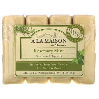 A La Maison de Provence, Barra de jabón para las manos y el cuerpo, Romero y menta, 4barras, 100g (3,5oz) cada una